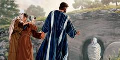 Marija in Marta gledata, ko Jezus obudi njunega brata Lazarja.