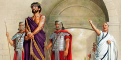 Jesus stands wearing a purple outer garment and a crown of thorns as Pilate seeks his release