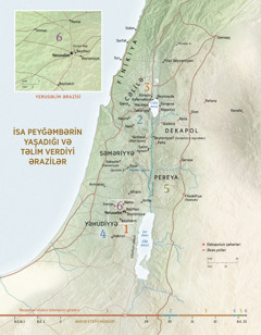 İsa peyğəmbərin yaşadığı və təlim verdiyi ərazilərin xəritəsi