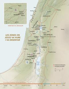 Un mapa de les zones on Jesús va viure iva ensenyar