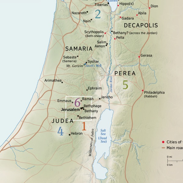 Map of Areas Where Jesus Lived and Taught   Life of Jesus Where Was Jesus Baptized Map on