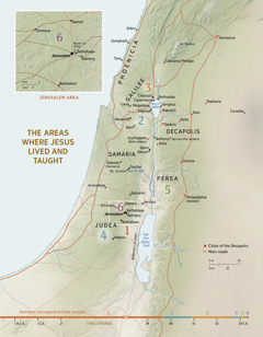 A map of areas where Jesus lived and taught