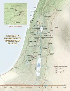 Mapa dagiti lugar a nagnaedan ken nangisuruan ni Jesus
