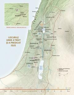 O hartă cu locurile unde a trăit şi a predicat Isus