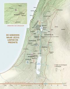 Een kaart van de gebieden waar Jezus leefde en predikte