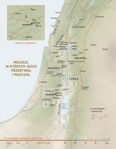 Mapa miejsc, wktórych Jezus przebywał inauczał