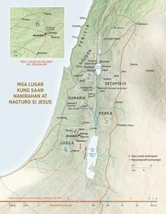 Isang mapa ng mga lugar kung saan nanirahan at nagturo si Jesus