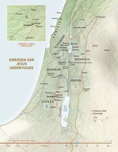 En karta över områden där Jesus undervisade