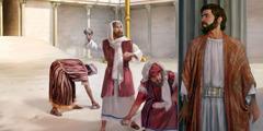 Юдеї намагаються закидати Ісуса камінням, але він виходить, не зазнавши шкоди