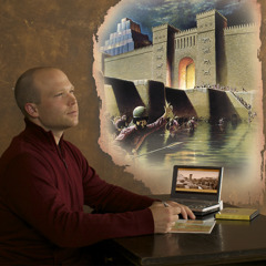As he reads the Bible, a man imagines the scene from Isaiah's prophecy about the fall of Babylon
