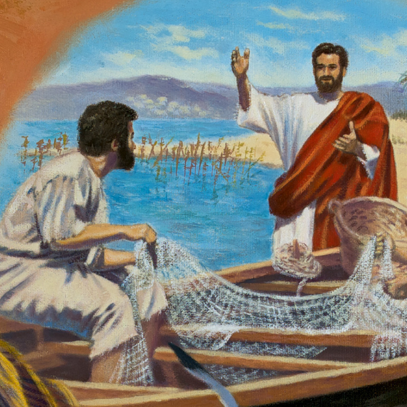 Jesus preaches to a fisherman