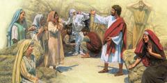 യേശു ലാസറിനെ ഉയിർപ്പിക്കുന്നു, കുടുംബാംഗങ്ങളും കൂട്ടുകാരും സന്തോഷത്തിലാണ്