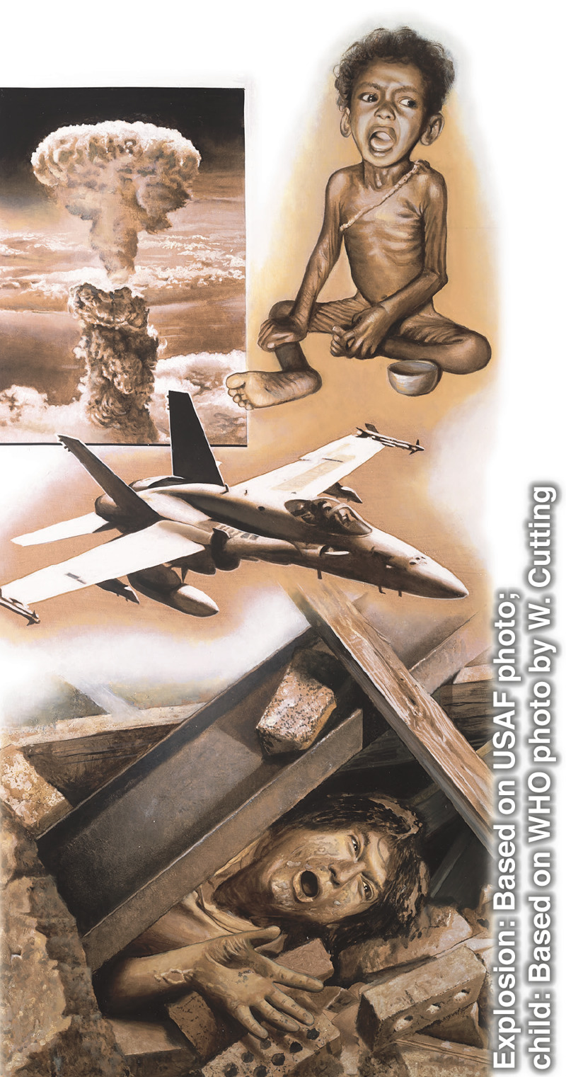 Cosas que pasarían en los últimos días: una bomba explotando, un niño pasando hambre, un avión de guerra, una persona atrapada bajo los escombros después de un terremoto