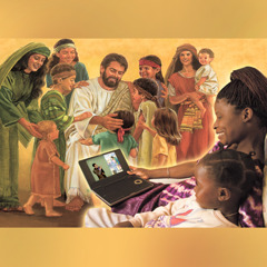 1. Jesus spends time with children; 2.A father discusses the Learn From the Great Teacher book with his son