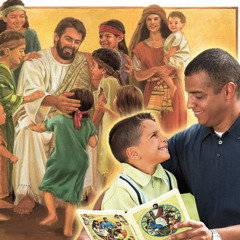 1. Jesus spends time with children; 2. A father discusses the Learn From the Great Teacher book with his son