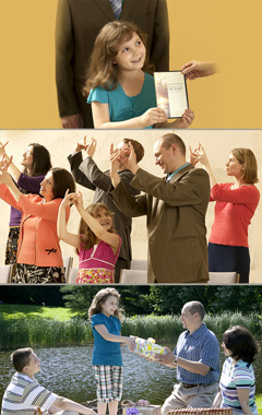 Scenes of a family preaching the good news, worshipping together at a Christian meeting, and exchanging gifts at a picnic