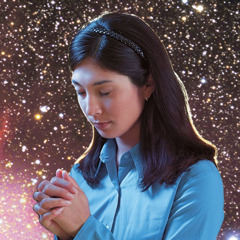 A woman praying under the starry heavens