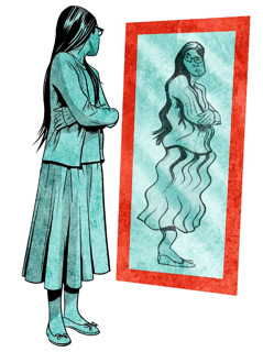 A teenage girl looks in a mirror and perceives a distorted, overweight image of herself