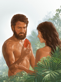 آدم يمسك الثمرة المحرمة التي اعطته اياها حواء