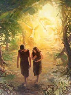 آدم وحواء يخرجان من جنة عدن، وهناك ملاكان وسيف من نار على مدخل الجنة