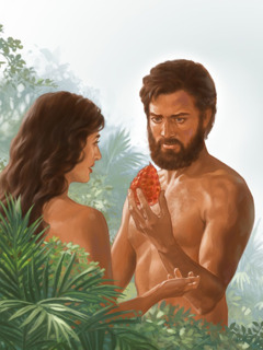 Adam holds the forbidden fruit that Eve gave him