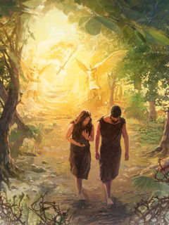 As Adam and Eve leave the garden of Eden, angels and a sword of fire guard the entrance