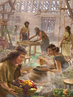 Noah and his family build the ark and prepare food