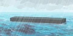 الفلك يعوم على وجه المياه فيما السماء تمطر بغزارة