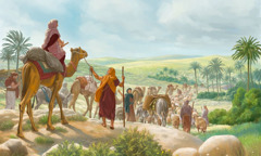 Abraham and his family on the journey to the land of Canaan