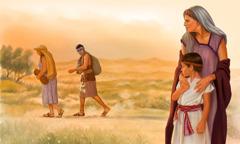 سارة تمسك اسحاق فيما هاجر وإسماعيل يرحلان