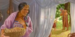 سارة تسمع الملائكة يكلِّمون ابراهيم وهي داخل الخيمة