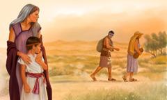 Sara, apkabinusi Izaoką, stebi, kaip Hagara su Izmaeliu išeina iš namų