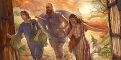 زوجة لوط تصير عمود ملح فيما لوط وابنتاه يهربون من مدينة سدوم