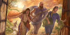 Lot's wife turns into a pillar of salt as Lot and his daughters escape Sodom