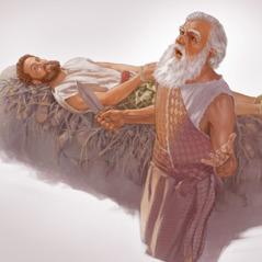 İshaq qurbangaha uzanıb, İbrahim isə bıçağı əlinə götürür