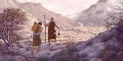 Abraham dan Ishak berjalan ke Moria
