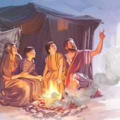 Isaac and Rebekah with their twin boys, Jacob and Esau