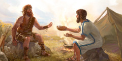 Jacob gives Esau a bowl of stew in exchange for his birthright