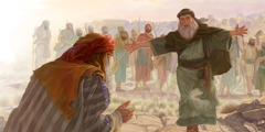 Jacob bows down and Esau runs toward him