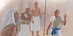 يوسف واقف امام فرعون يشرح له حلميه