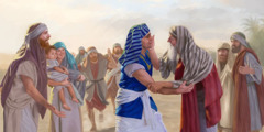 Joseph and his father, Jacob, greet each other