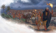 The Israelites march out of Egypt