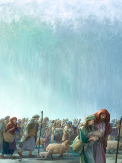 The Israelites walk on the dry seabed with a wall of water beside them