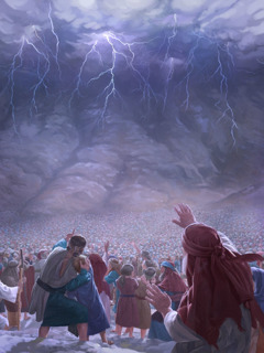 The Israelites see lightning and a dark cloud over Mount Sinai