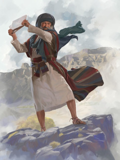 Mojzes vrže kamniti plošči na tla.