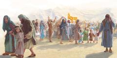 Izraelci pojejo in plešejo okoli zlatega teleta.