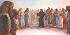 Korah and his supporters stand before Moses and Aaron