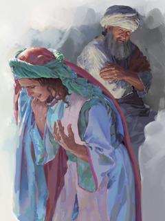 رئيس الكهنة عالي ينظر الى حنة وهي تبكي وتصلِّي