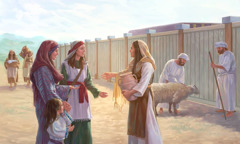 Friends of Jephthah's daughter visit her at the tabernacle