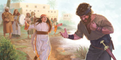 Jephthah rips his garments when his daughter comes out to meet him